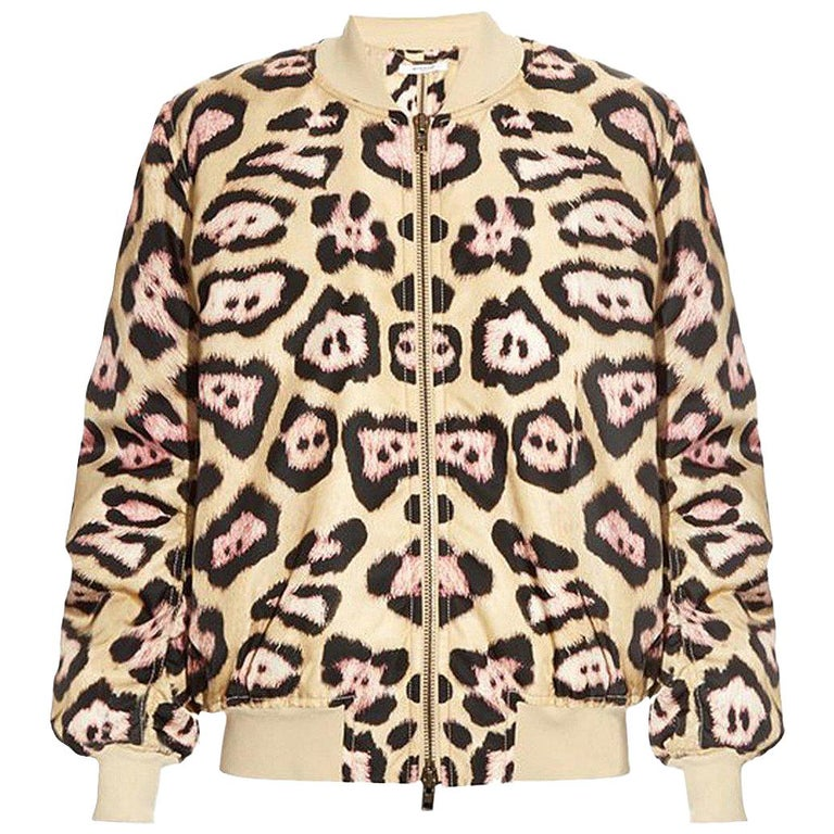 Givenchy Leopard-Print Padded Bomber Jacket For Sale