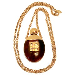 "Givenchy ""Limited Edition"" 'Tortoise Shell' Lucite Perfume Pendant Necklace"