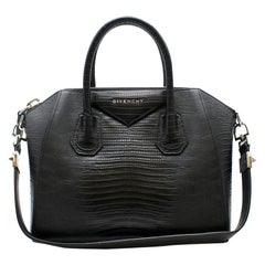Givenchy Lizard Embossed Black Small Antigona Bag