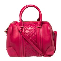Givenchy Magenta Quilted Leather Lucrezia Bowler Bag