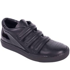 Givenchy Men Black Patent Insert Leather Straps Low Top Sneakers
