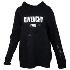 Givenchy Men's Black Distressed Logo-Print Cotton Hoodie Sz M