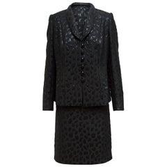 Givenchy Metallic Black Jacquard Skirt Suit Set