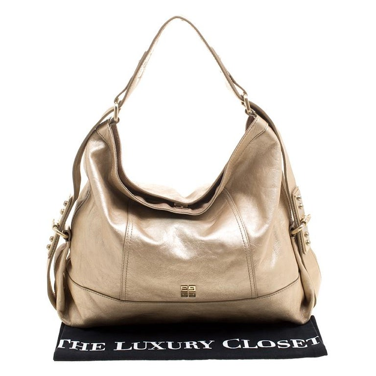 Givenchy Metallic Gold Leather Hobo For Sale 7