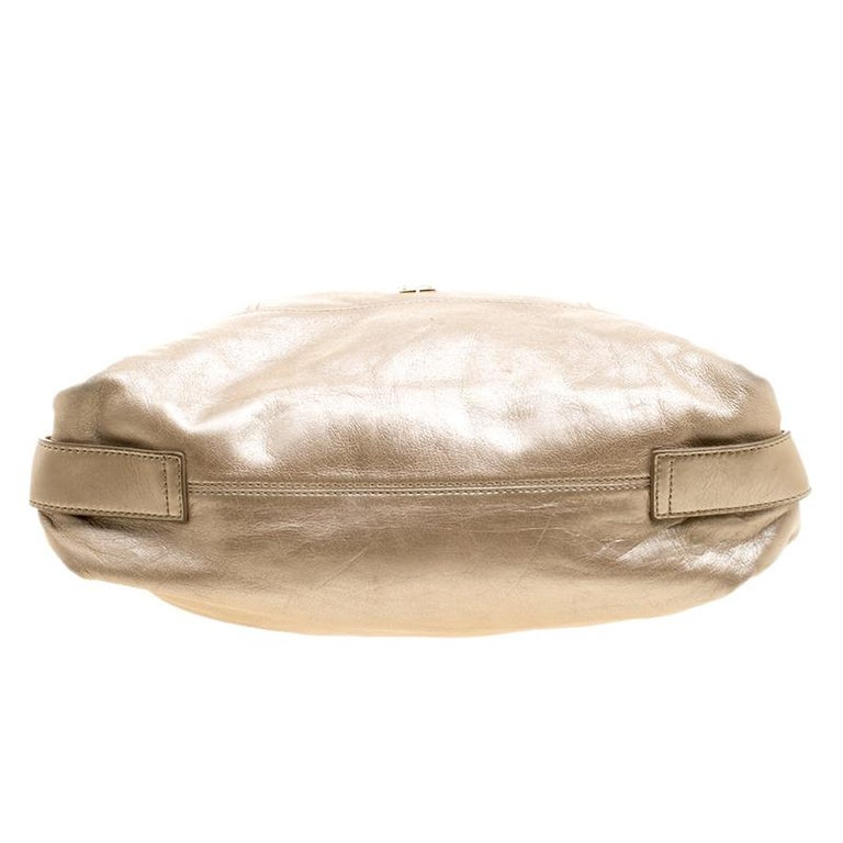 Givenchy Metallic Gold Leather Hobo For Sale 2