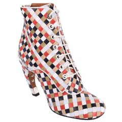 Givenchy Multi-Color Leather Woven Lace Up Booties