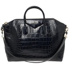 Givenchy Navy Blue Croc Embossed Leather Antigona Satchel