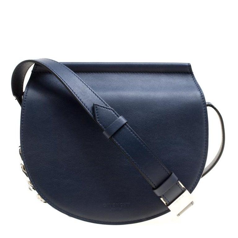58bc7fbd8 Givenchy Navy Blue Leather Mini Infinity Saddle Bag at 1stdibs