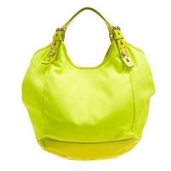 Givenchy Neon Green Nylon and Patent Leather Hobo