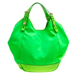 Givenchy Neon Green Nylon and Patent Leather New Sacca Hobo