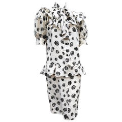 """GIVENCHY """"New"""" Haute Couture White Abstract Polka Dots Silk Dress - Unworn"""