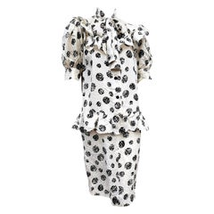 "GIVENCHY ""New"" Haute Couture White Abstract Polka Dots Silk Dress - Unworn"