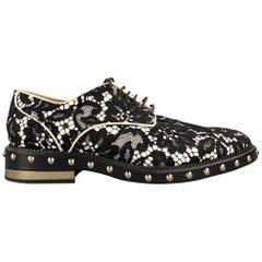 GIVENCHY Nika Size 7.5 Black & White Lace Leather Studded Lace Up Shoes