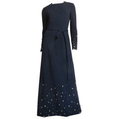 Givenchy Nouvelle Boutique Studded Maxi Dress and Wrap 1970s