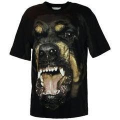 Givenchy NWT Unisex Black Cotton Oversized Rottweiler Printed T-Shirt sz Medium