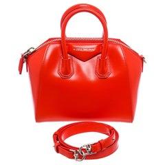 Givenchy Orange Smooth Leather Mini Antigona Satchel Bag