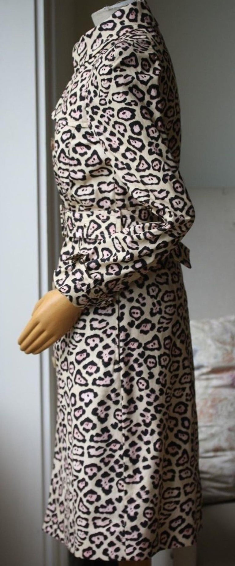 Beige Givenchy Oversized Leopard-Print Trench Coat For Sale