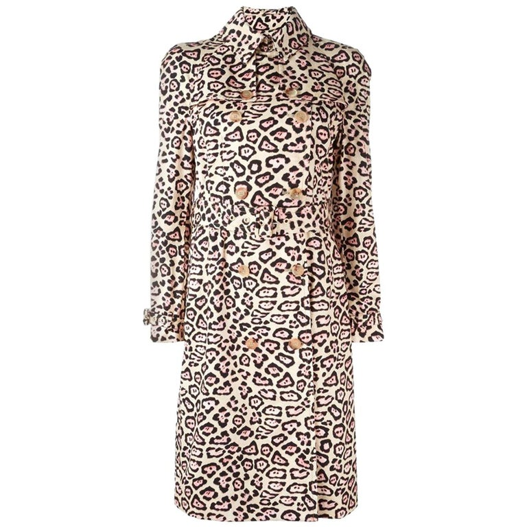 Givenchy Oversized Leopard-Print Trench Coat For Sale