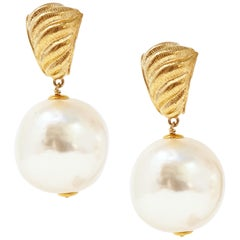 Givenchy Oversized Pearl Dangle Statement Earrings, Signed, Early 1990s