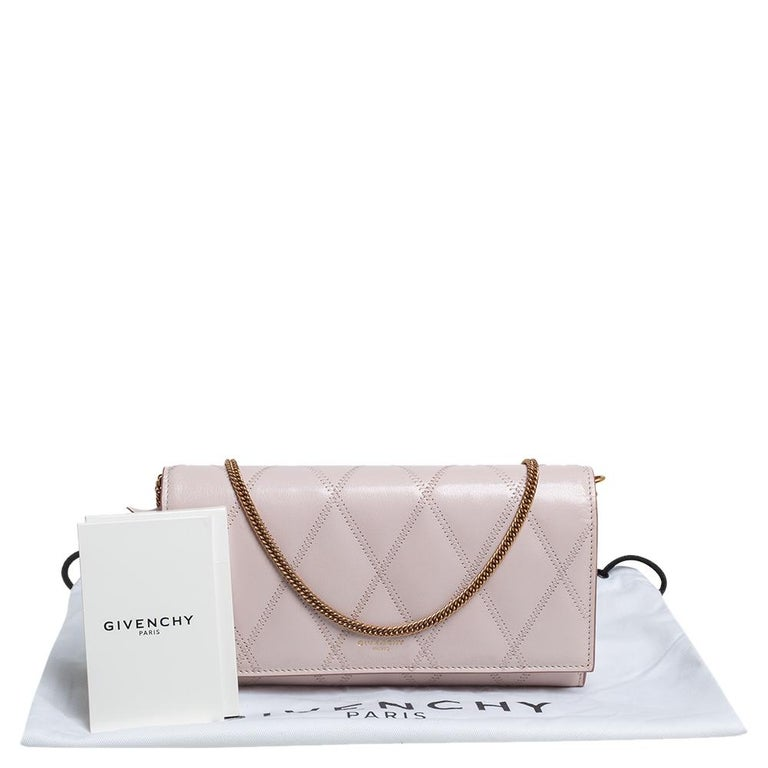 Givenchy Pale Pink Leather GV3 Wallet On Chain For Sale 8