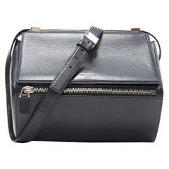 GIVENCHY Pandora Box black leather flap front zip structured crossbody bag