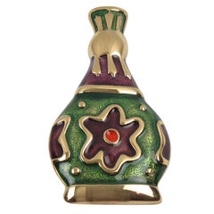 Givenchy Pin Brooch Gilt Metal with Green Purple Enamel