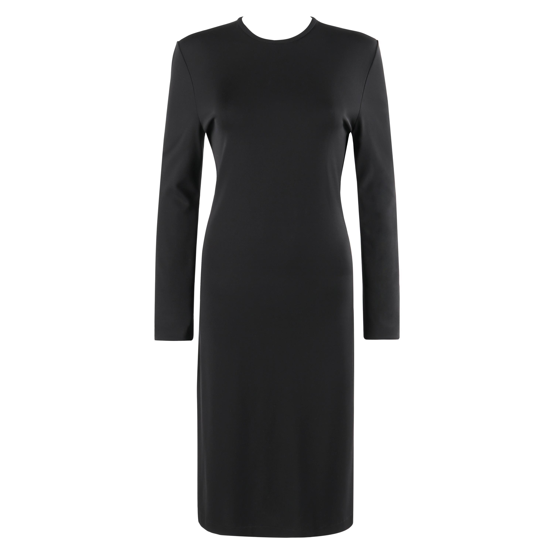 GIVENCHY Pre Fall 2013 Black Long Sleeve Ruffle Detail Knit Sheath Dress NWT