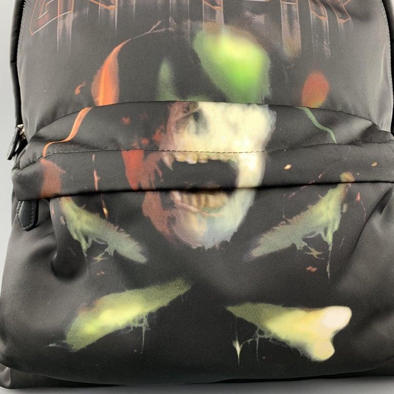 GIVENCHY Print Black Skull Crossbones Graphic Nylon Backpack