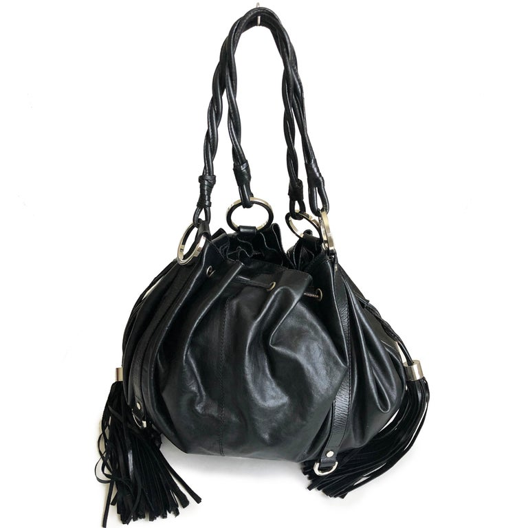 Givenchy Pumpkin Hobo Bag Drawstring Tote Black Leather  In Good Condition For Sale In Port Saint Lucie, FL