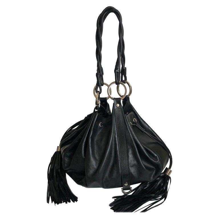 Givenchy Pumpkin Hobo Bag Drawstring Tote Black Leather  For Sale