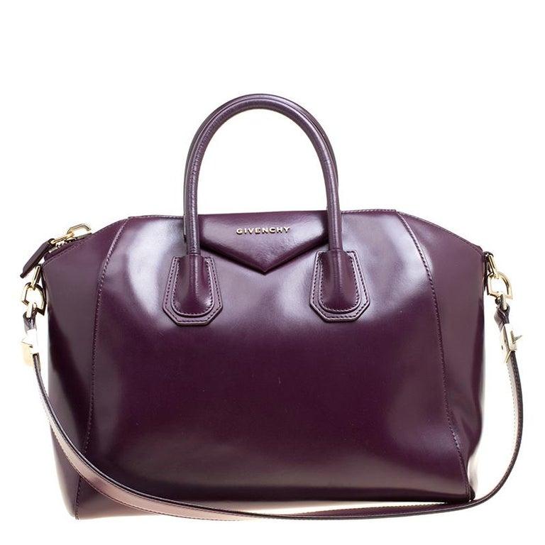 46cda5b96d6 Givenchy Purple Leather Medium Antigona Top Handle Bag For Sale at ...