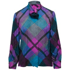 Givenchy Purple & Teal Silk Plaid Blouse