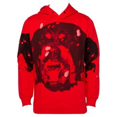 Givenchy Red Cotton Rottweiler Printed Distressed Hoodie S