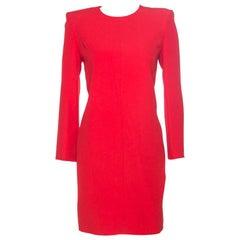 Givenchy Red Crepe Padded Shoulder Shift Dress S