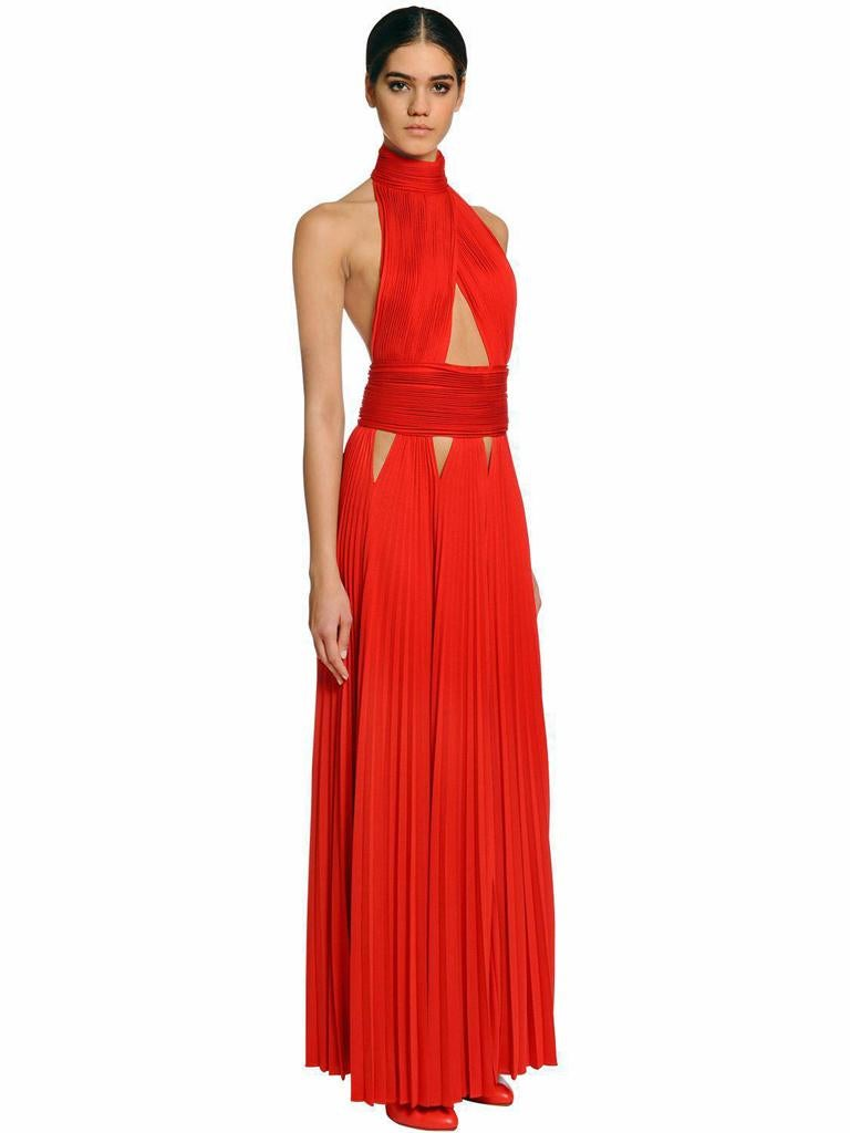 Givenchy Red Cut-out Plisse Jersey Maxi Dress Gown  NWT For Sale 8
