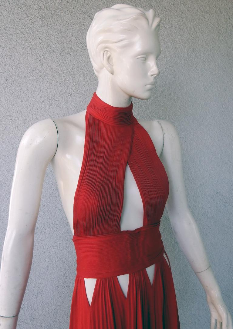 Givenchy Red Cut-out Plisse Jersey Maxi Dress Gown  NWT In New Condition For Sale In Los Angeles, CA