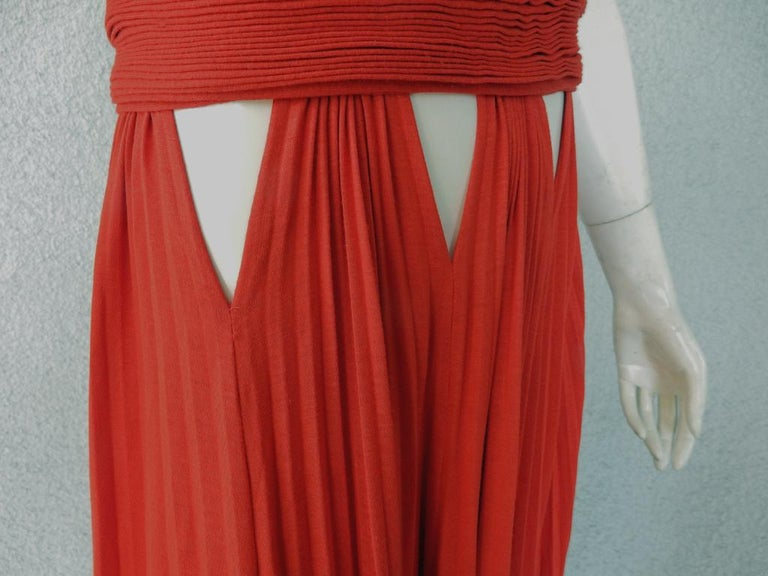 Women's Givenchy Red Cut-out Plisse Jersey Maxi Dress Gown  NWT For Sale
