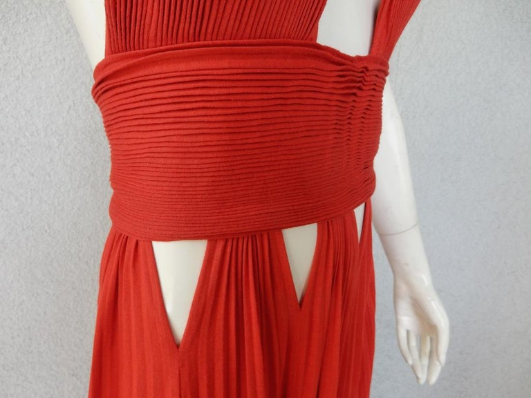 Givenchy Red Cut-out Plisse Jersey Maxi Dress Gown  NWT For Sale 1