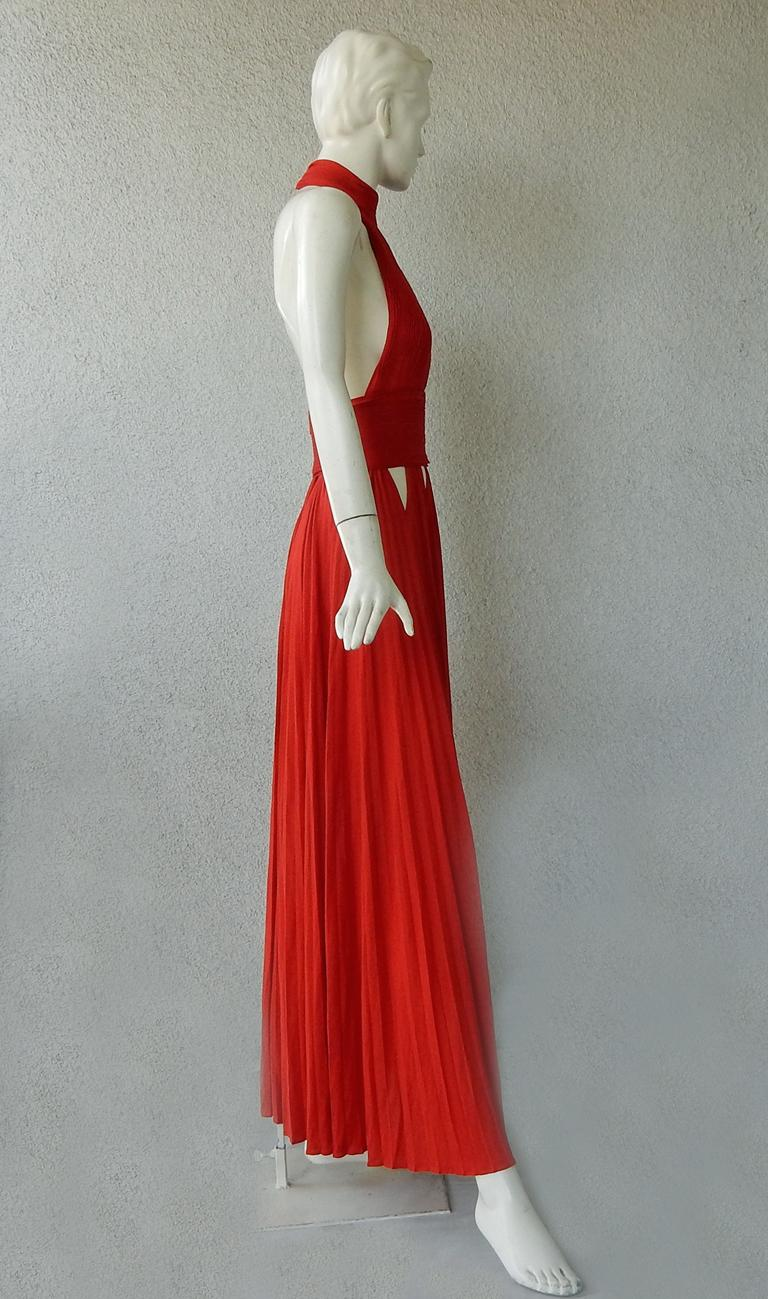 Givenchy Red Cut-out Plisse Jersey Maxi Dress Gown  NWT For Sale 2
