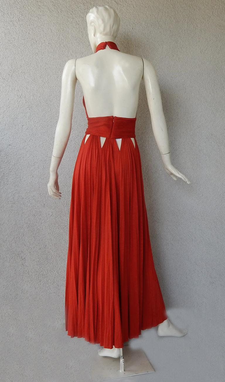 Givenchy Red Cut-out Plisse Jersey Maxi Dress Gown  NWT For Sale 3