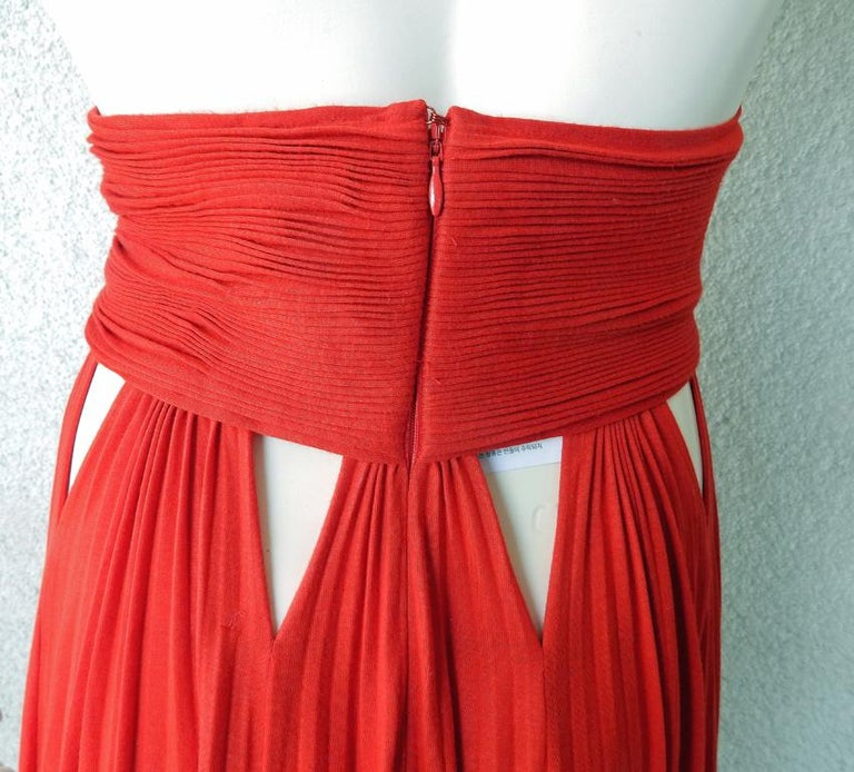 Givenchy Red Cut-out Plisse Jersey Maxi Dress Gown  NWT For Sale 4