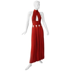 Givenchy Red Cut-out Plisse Jersey Maxi Dress Gown  NWT