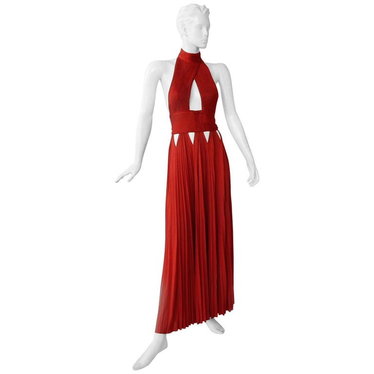 Givenchy Red Cut-out Plisse Jersey Maxi Dress Gown  NWT For Sale