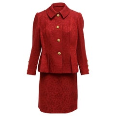 Givenchy Red Jacquard Skirt Suit Set
