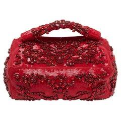 Givenchy Red Sequin Crystal Embellished Top Handle Bag
