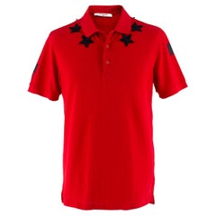 Givenchy Red Vintage Stars Around The Neck Collared Shirt M