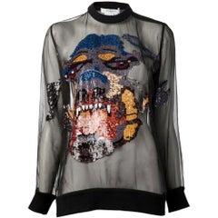 Givenchy Rottweiler Embroidered Silk Organza Top