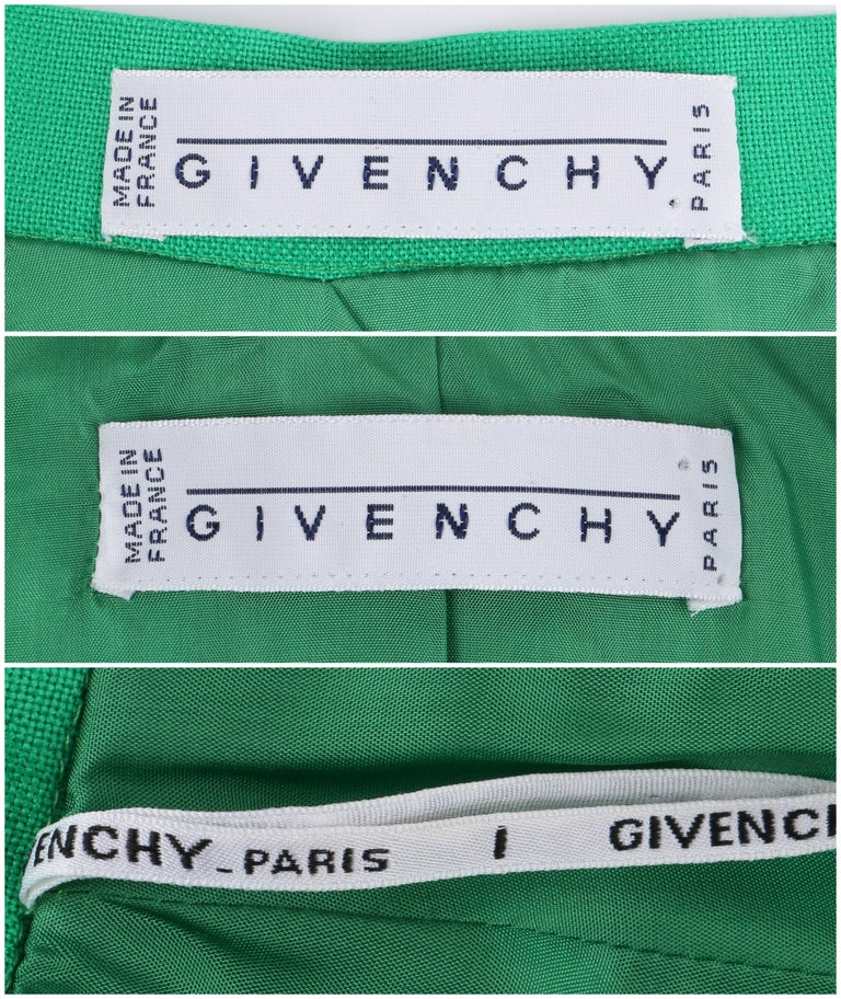 GIVENCHY S/S 1998 ALEXANDER McQUEEN 2pc Green Asymmetric Panel Skirt Suit Set For Sale 6