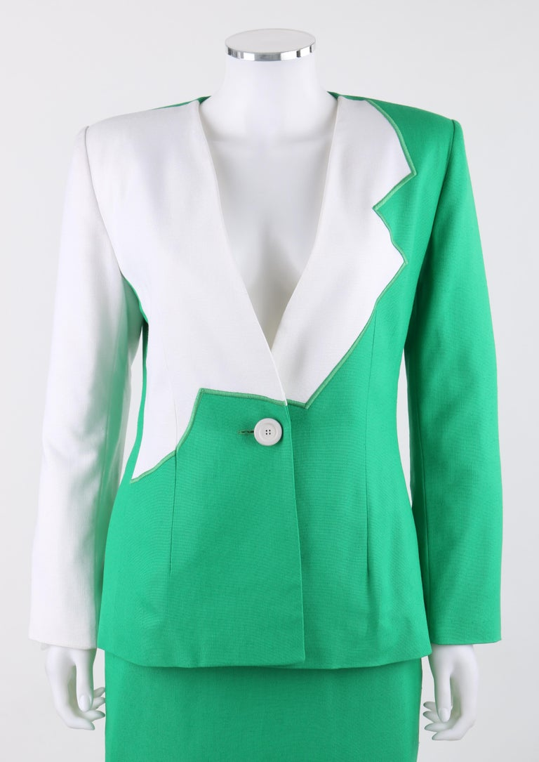 GIVENCHY S/S 1998 ALEXANDER McQUEEN 2pc Green Asymmetric Panel Skirt Suit Set    Brand / Manufacturer: Givenchy Collection: Spring / Summer 1998 Designer: Alexander McQueen Style: Skirt suit set Color(s): Shades of bright green (blazer & skirt