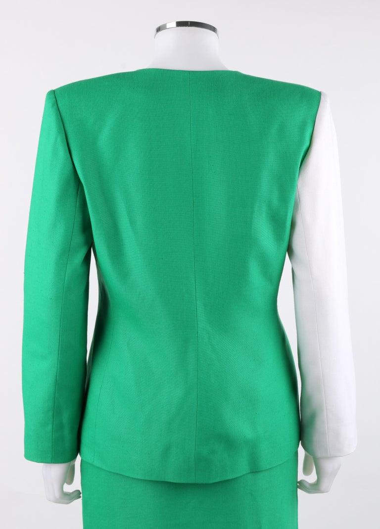 Women's GIVENCHY S/S 1998 ALEXANDER McQUEEN 2pc Green Asymmetric Panel Skirt Suit Set For Sale